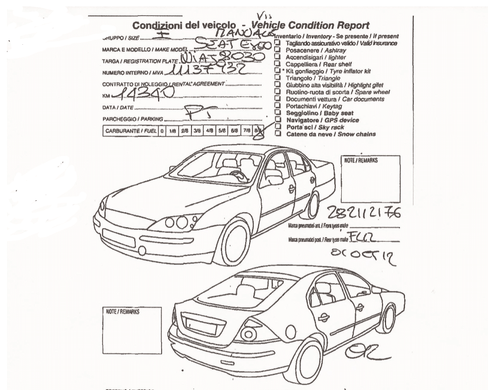 vehicle condition report associated with chase sapphire preferred rental car insurance claim