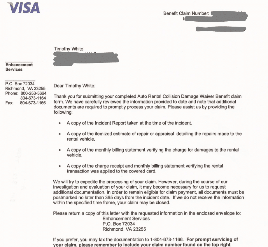 Visa Claim letter associated with Chase Sapphire Preferred Auto Damage Claim