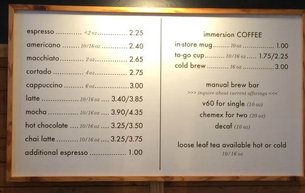 Press Coffee Bar Menu