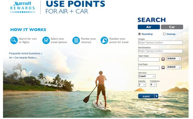 marriott rewards search tool flights and car rental