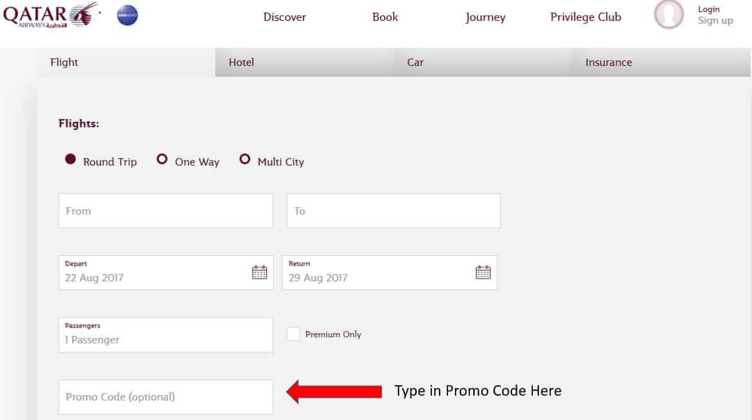 Where to apply qatar airways promotion code