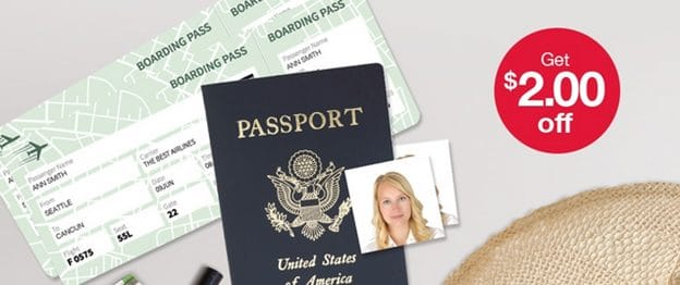 If you coupon you could even get a discount on your Rite Aid passport photo. Discount Stores; These are by far the cheapest places to get your passport photograph taken. They are not called discount stores for nothing. If you go to your local Walmart or Target you can get your 2 passport photos in a jiffy.