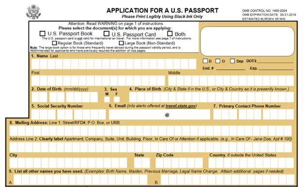 Passport Application Form DS-11 - apply for a passport