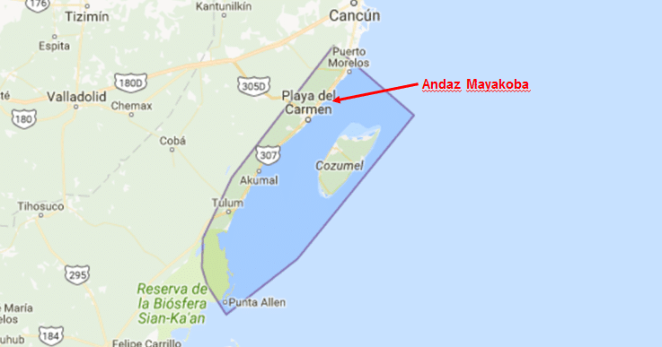 how far is mayakoba from cancun