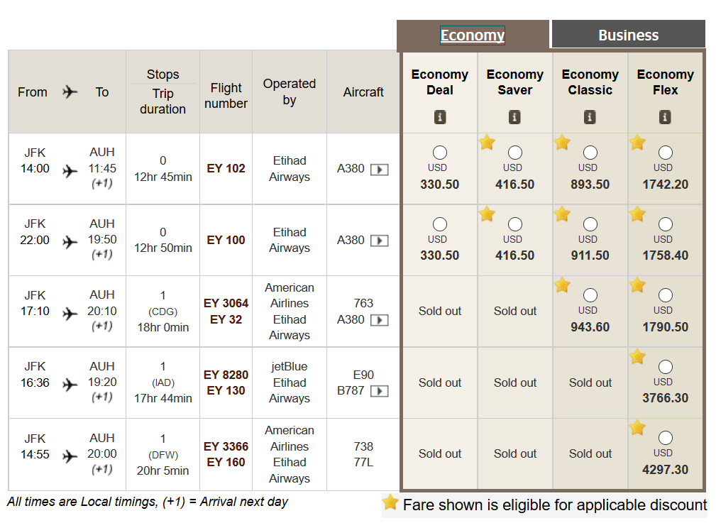 yellow stars indicate fares eligible for the Etihad AMEX offer