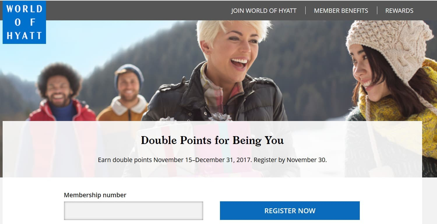 World of Hyatt Double Points Promotion 2017