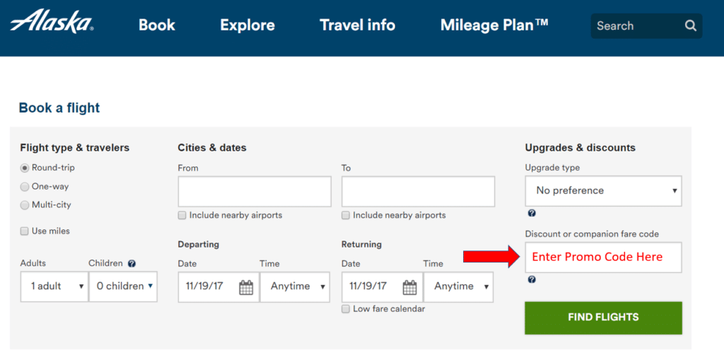here is where you enter the alaska airlines promo code
