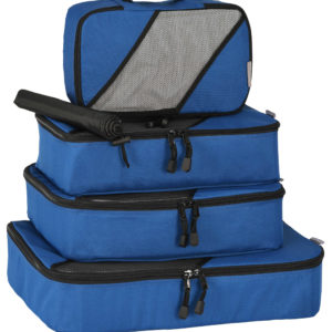 Packing Cubes: 4 piece Set + Laundry/Shoe Bag Blue