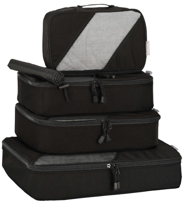 Packing Cubes: 4 piece Set + Laundry/Shoe Bag Black