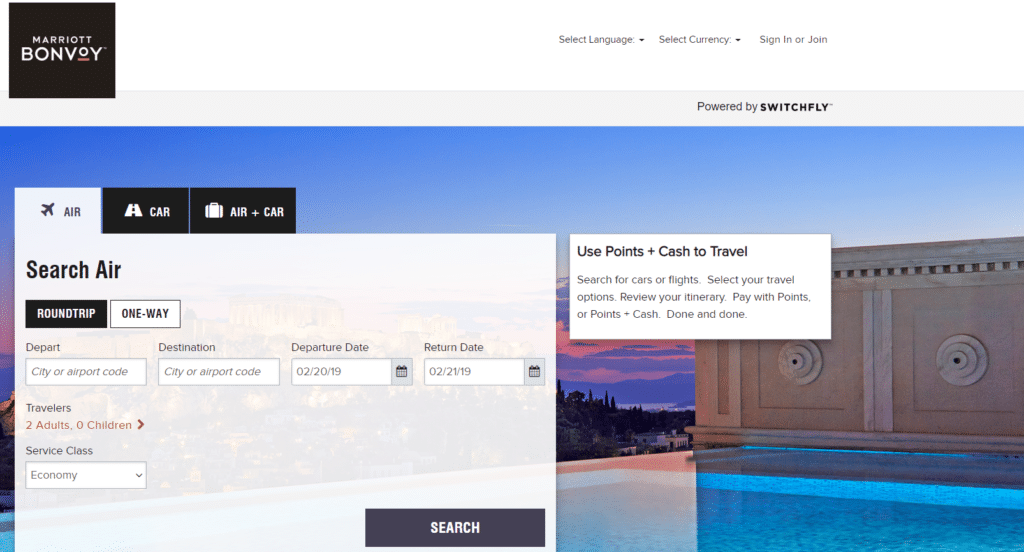 Marriott Bonvoy Air and Car Search Tool