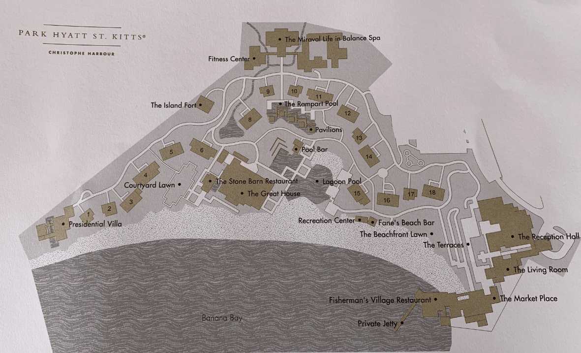 Resort map of Park Hyatt St Kitts