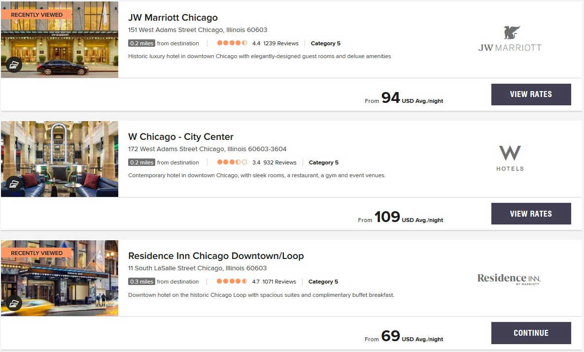 Marriott MMP Code results chicago