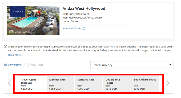 Hyatt Travel Agent Rate Andaz West Hollywood
