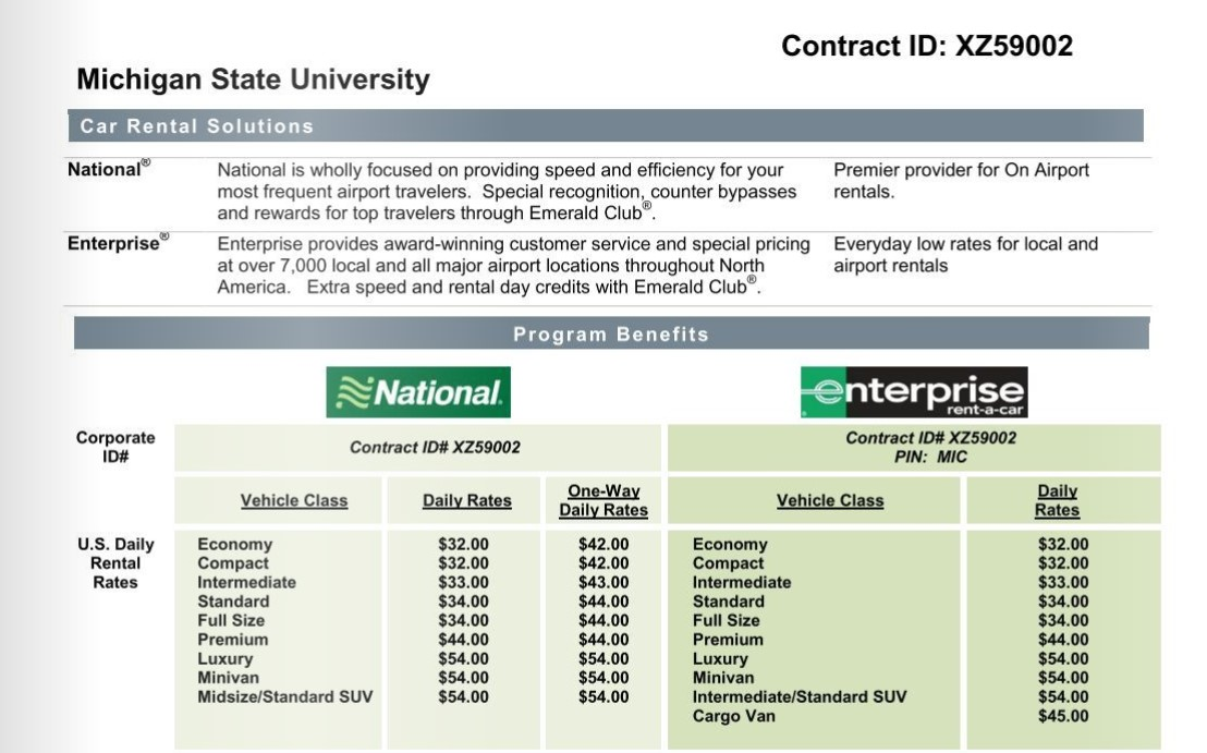 National and Enterprise MSU Discount Code