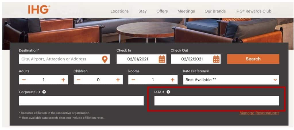 Book with IHG Travel Agent Code
