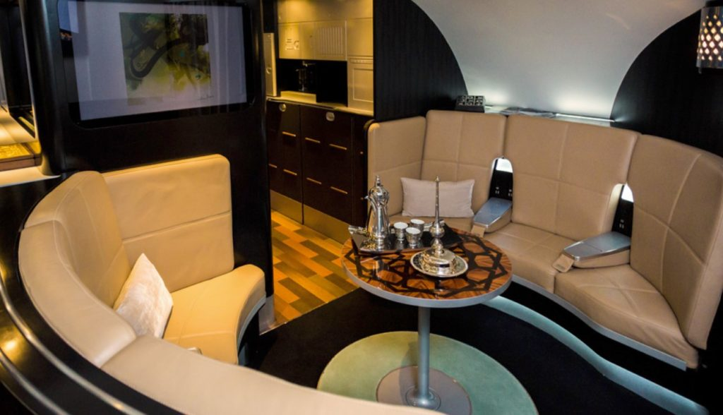Etihad Airways on board lounge