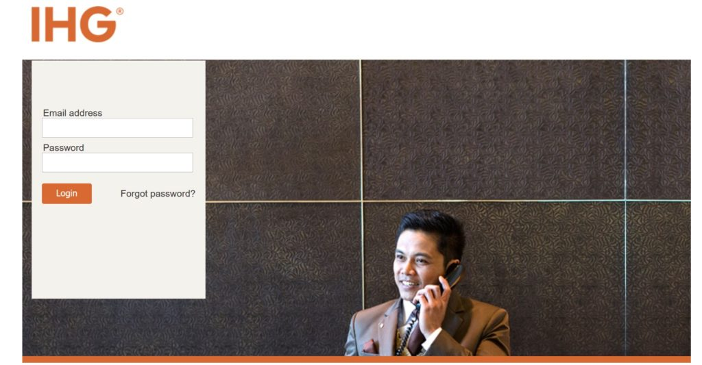 IHG Travel Agent Login Page