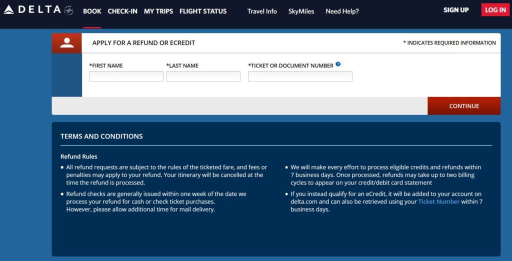 How to apply for a Delta refund