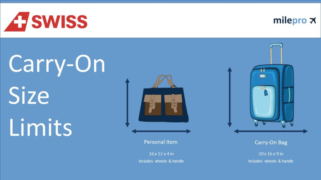 Swiss air carry on size and personal item limits