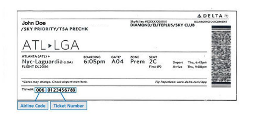 Where to find Delta Ticket Number