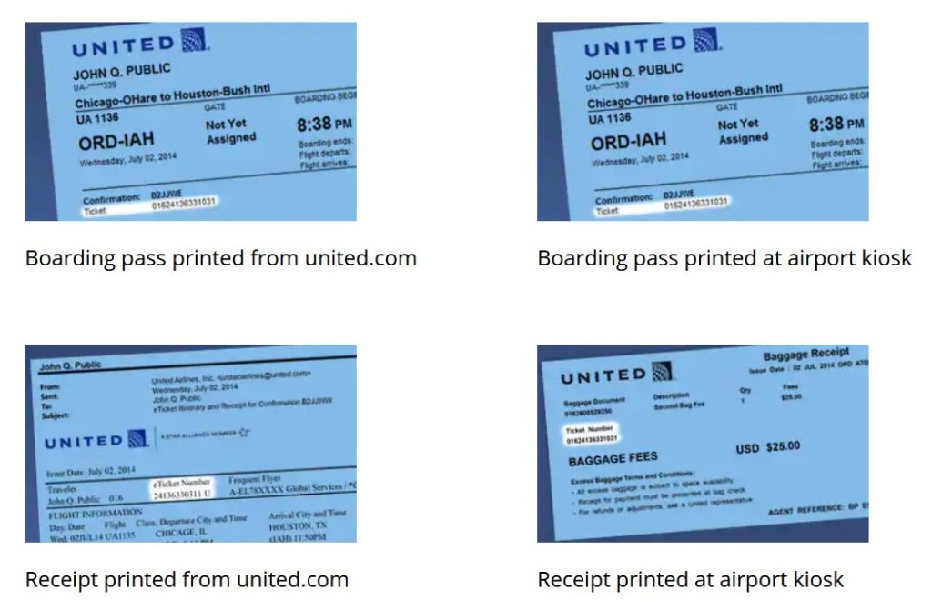 Where to find United Airlines Ticket number