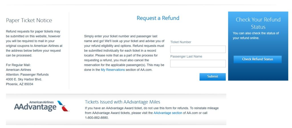 prefunds.aa.com American Airlines refund request