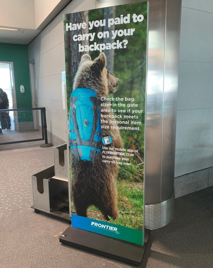 Frontier Airlines personal item and Backpack fees